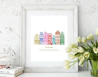 Rainbow Row, Charleston SC gold foil print/ south carolina print/rainbow row art/charleston art/charleston print/southern art/sc print
