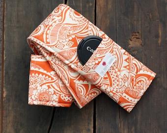 DSLR Camera Strap Cover- lens cap pocket and padding included- Burnt Orange