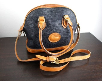 Vintage Dooney & Bourke Norfolk Satchel, Navy Pebbled All Weather Leather with British Tan Trim, Top Handle Purse, Round, Dome, 1990s 050021