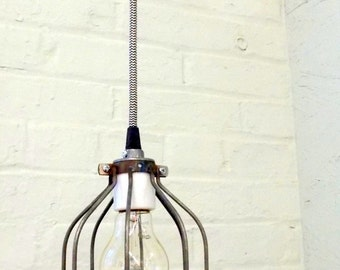 IN STOCK Industrial Hanging Cage Lamp Light with Antique Style Edison Bulb