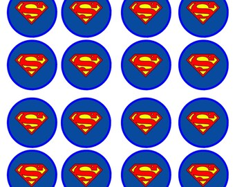 Superman #2 Edible Wafer Rice Paper Cake Cupcake Toppers x 24
