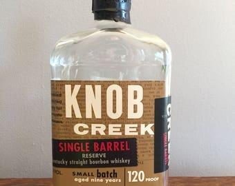 Empty glass bottle - Knob Creek Single Barrel Reserve Straight Bourbon Whiskey