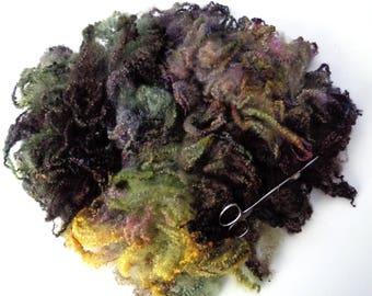 65g (31.23 Euro/100g) 2.3oz hand dyed bfl fleece, wool curls, wool locks, felting wool, dolls hair, spinning fiber,autumn colours, 100% wool