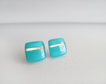 Turquoise Gold Square Stud Earrings - Hypoallergenic Surgical Steel Posts
