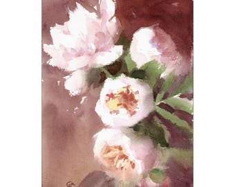 Original Watercolor Painting of White Peonies 8 x 11 inches White Flowers Gift for Her Home Decor