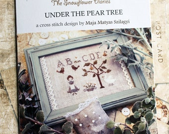 Under The Pear Tree - official printed cross stitch pattern, sampler, primitive, embroidery