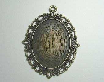 Support ring 30 mm x 40 mm pendant, bronze metal.