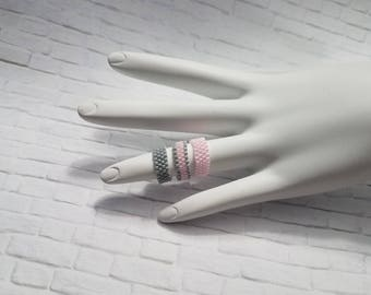 Stackable Rings, Dainty Ring, Custom Jewelry, Dainty Jewelry, Stacking Ring, Rings, Pink Beaded Ring, Statement Ring, Handmade Ring