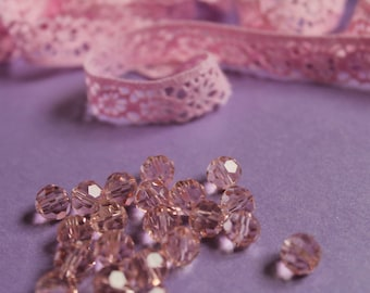 5 swarovski pink Crystal beads