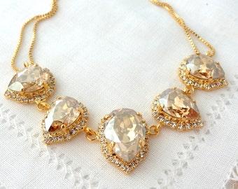 Champagne Swarovski crystal necklace, Bridal necklace,  Statement necklace, Bib necklace, Bridesmaid gift, Estate style Wedding jewelry