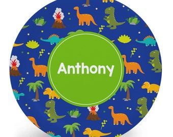 Dinosaur Plate - Child's Plate - Child's Bowl - Melamine Bowl or Plate Personalized (Plastic) - Tableware Set