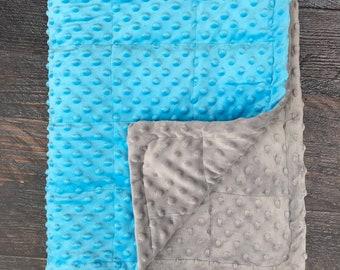 Aqua/Grey minky weighted blanket 35X40 & 40X60