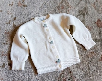 "SALE Vintage 1960s Baby Size 0-3M Sweater, Baby Spur Creation Cream White Soft Cardigan Felt Bird Appliques, b18"" L10"""