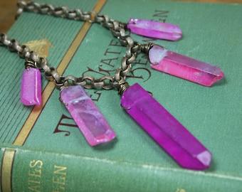 Pink Titanium Quartz Crystal Short Bib Necklace Electroplated Quartz Hand Wrapped Boho Barbie Doll Jewelry