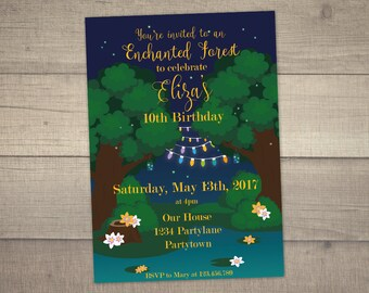 Enchanted Forest Invitation, Enchanted Forest Party, Enchanted Birthday Invitation, Enchanted Party -with Thank You Card. Digital File