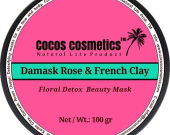 Mothers Day gift/ French pink clay  and Damask Rose / Whitening face mask / Facial Mask / Antiaging mask / Mineral mask