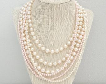 Layered Bridal Necklace, Multi Strand Wedding Necklace, Ivory and Blush Bridal Necklace