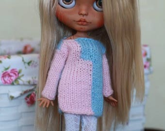Aknitted sweater for 1/6 custom Blythe doll outfit Blythe doll clothes Handmade for custom doll