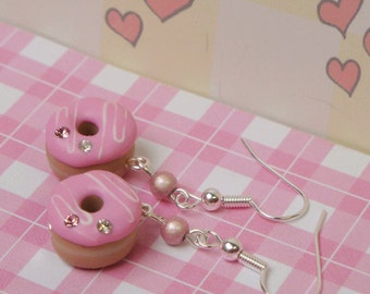 Strawberry Frosted Donuts Earrings