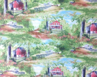 Friendly Visitors by KD Studio for South Sea Imports,  Barns, General Stores, 100% Cotton fabric by the yard