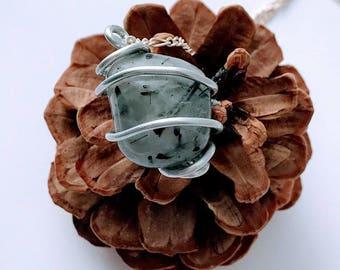 Tourmalinated Quartz Necklace - Tourmalinated Quartz Pendant - Tourmalinated Quartz - Tourmalinated Quartz Wrapped Pendant - Quartz Jewelry
