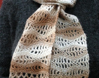 Handmade Crochet Stormy Sea Lace Scarf