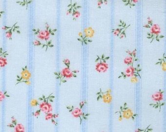 Stripes and roses on blue background from the Flower Fields fabric collection by Lecien  - 31729L-70