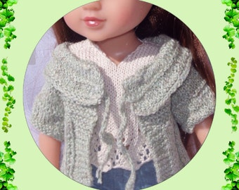 Knitting pattern (pdf download) of Cardigan and Sleeveless Blouse for 13 inch Doll, Les Cheries and Hearts For Hearts dolls.