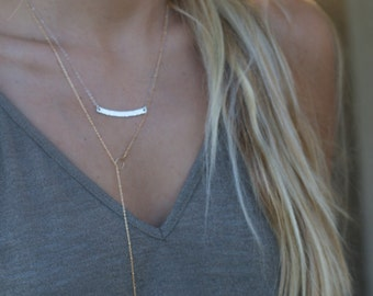 Tiny Spike Lariat, Long Lariat Necklace, Gold Lariat Chain, Y Drop Necklace, Satellite Chain Necklace
