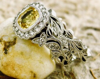 Yellow Sapphire & Diamond Engagement Ring with Matching Wedding Band in 14K White Gold with Flower Buds and Leafs on Vine Motif Size 4