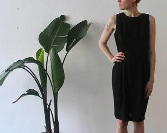 vintage linen blend black smock dress / size medium