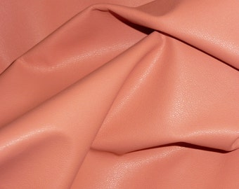 """Leather 12""""x12"""" PLONGE Coral / Peach THIN Cowhide  1.75oz/.7 mm - PeggySueAlso™ E2843-03 Full hides available"""