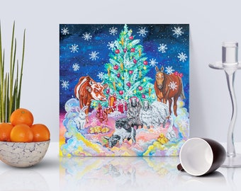 Vegan Christmas Party, ORIGINAL Acrylic painting, 30x30 cm canvas