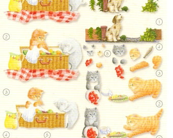 1 x sheet 3D picnic of cats and dog (3DSTUD01)