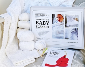 Baby Blanket knitting kit / Beginner knitting kit / Baby knitting kit / Chunky cotton baby blanket / Waffle blanket / Baby shower gift