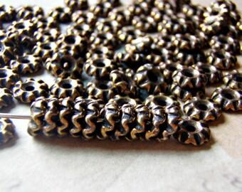Teke Bead Tierracast Heishi 6 mm Antique Brass Premium Quality 10 Beads