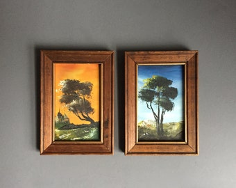 Pair of Small Oil Landscape Paintings in Wooden Franme