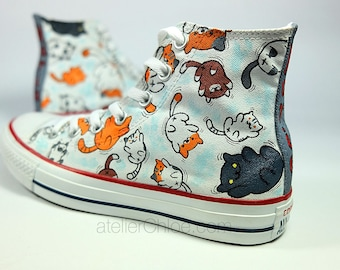 Cats converse cute cats funny cats name converse your name on converse personalized shoes girls gift for woman cats sneakers cats shoes