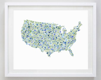 United States Floral Watercolor Art Print