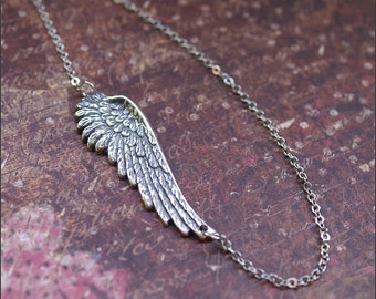 SIDEWAYS Angel Wing Necklace -OFF CENTERED- Celebrity Inspired 'Detailed Pendant' Wife, Mother, Sister, Friend Gift by RevelleRoseJewelry