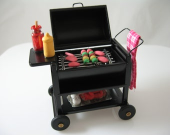 1:12 Scale dolls house miniature wooden BBQ