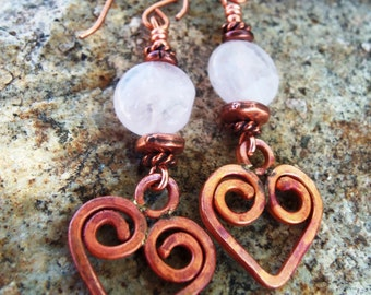 Copper Heart Earrings - Rose Quartz - Rustic Earrings - Cowgirl Jewelry - Gemstone - Valentines Day Gift - Earrings by Heart of a Cowgirl