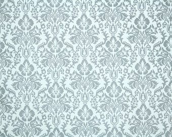 Retro Wallpaper by the Yard 70s Vintage Wallpaper - 1970s Blue Gray Damask