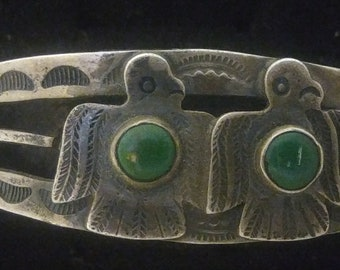 Super Crazy Old Fred Harvey Era Sterling Silver And Turquoise Dual Thunderbird Arrow Stamped Cuff Bracelet