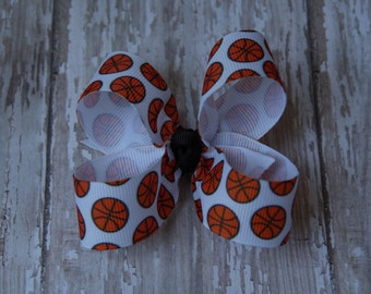 Basketball Toddler Hair Bow 3 Inch Alligator Clip Baby Hairbow Customize For Team