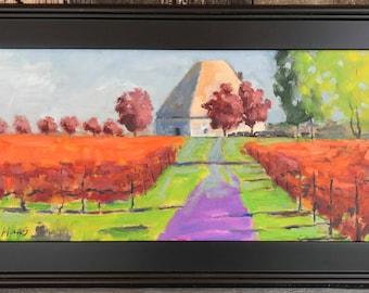 KARMIR VINEYARDS - 12 x 24 - Amador County Winery - Plein Air - Original Oil Painting - Fall - Trees - Northern California Landscape - Art