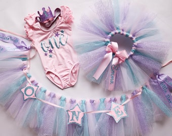 1st Birthday Outfit For Girl in Twinkle Little Star Theme in Pink, Lavender Purple, and Aqua Blue Personalized Collection Set First Birthday