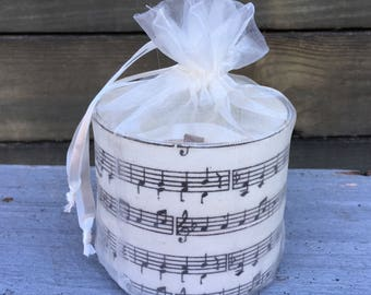 Sheet Music  Soy Candle with Wooden Wick Perfect for Music Lovers