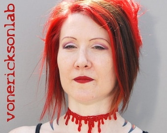Monster High Blood Drip Slit Throat Halloween Jewelry  -Necklace - Vampire choker  necklace Extra Drippy- Bright  Red Blood