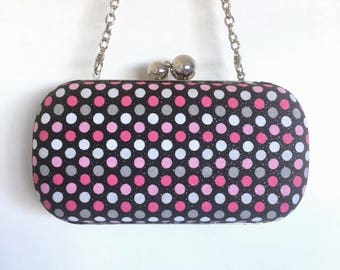 Black with Pink, White, and Grey Polka Dots Glitter Minaudière Clutch
